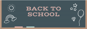 "Chalkboard with pink text that reads ""back to school"""