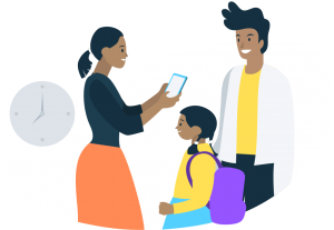 teacher communicating with family about the app