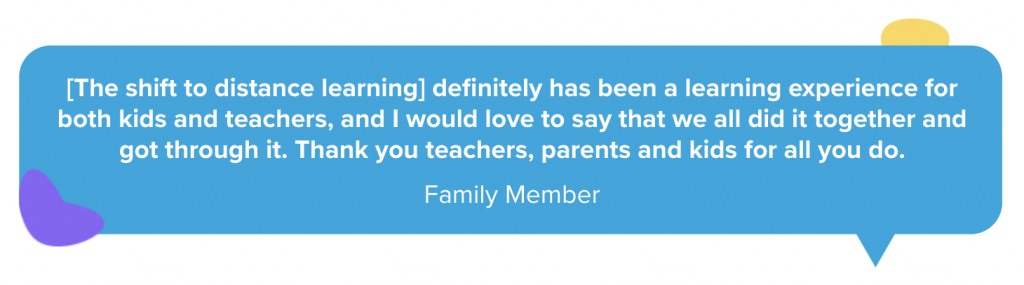 Family quote about distance learning